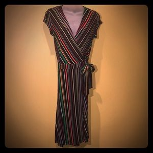 H&M 70's inspired striped wrap dress